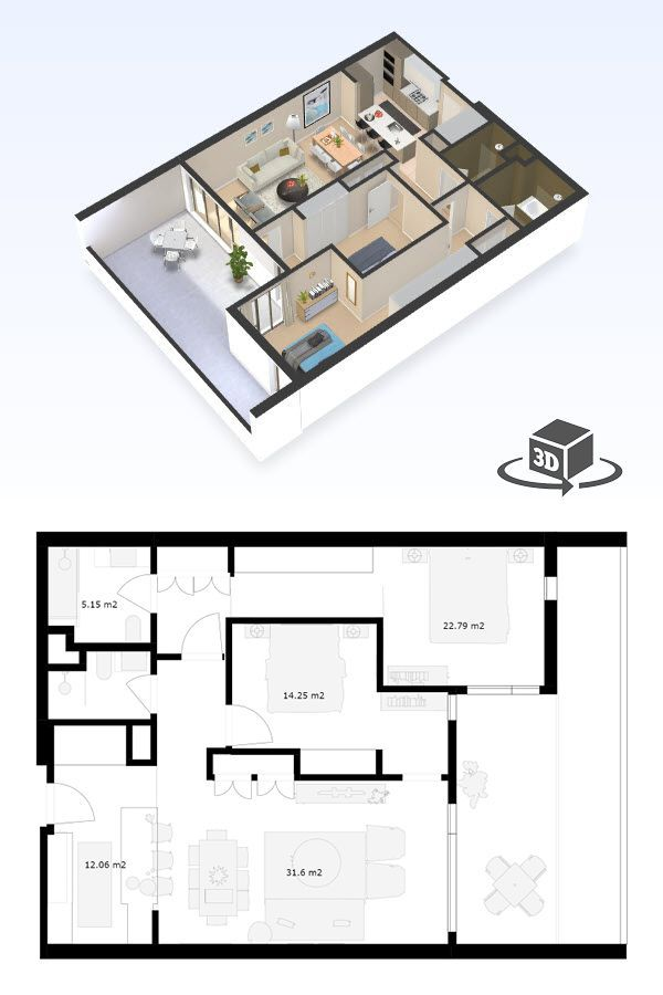 2 Bedroom Apartment Floor Plan In Interactive 3d Get Your Own 3d Model Today At Http Planto3d Com