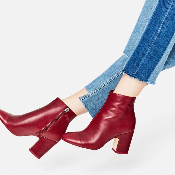 Love these red leather ankle boots.