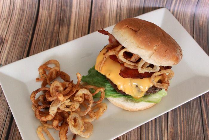 double cheeseburger Double Bacon Cheeseburger with Mini Onion Rings recipe