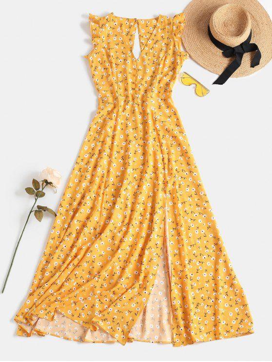 Tiny Floral Slit Cut Out Dress