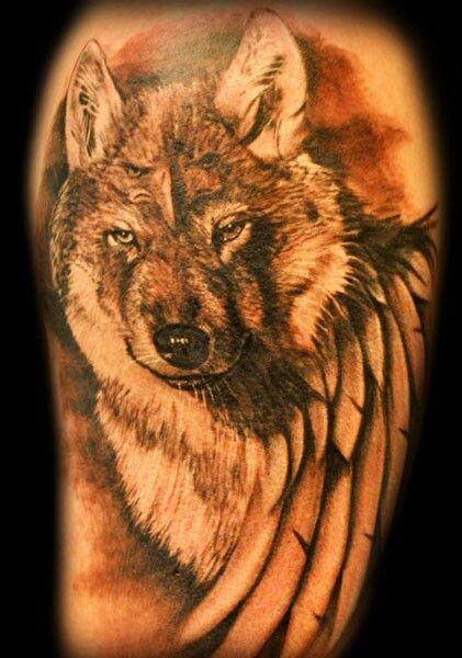 Wolf and eagle tattoo