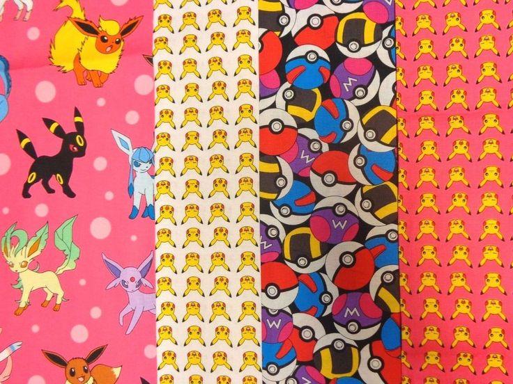 Pokemon Pink FQ Bundle w/4 Fat Quarter 18 x 22 inches Lisc cotton prints #RobertKaufmanFabrics