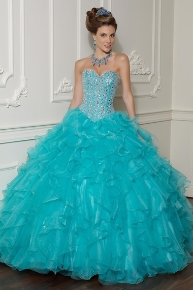 Pretty 2013 Quinceanera Dresses Blue Ball Gown Sweetheart Floor Length Beading Sequince affordable on sale delicate made