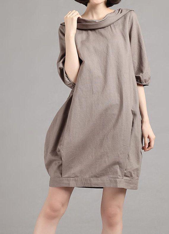 Linen half sleeve Pile collar hoodie dress/ summer dress by MaLieb, $85.00