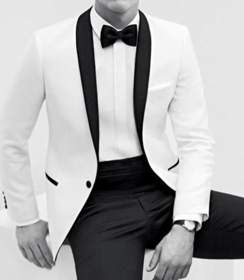 White roll collar jacket tuxedo and bow tie