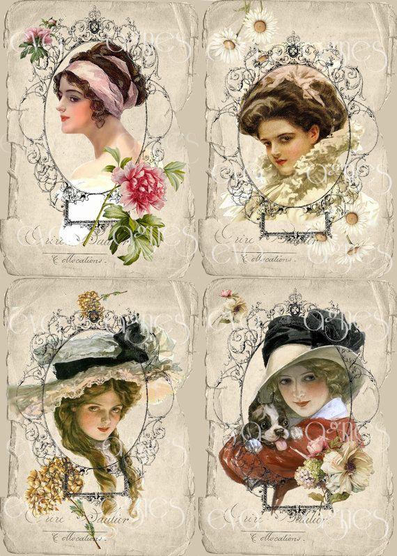 Vintage Lady Quartet with flowers