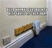 use a normal coat rack to keep shoes off the floor - Bing Images