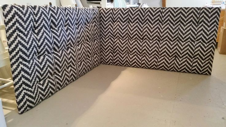 Black and white chevron Corner headboard daybed tufted upholstered custom wall-mounted