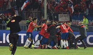 Chilean players celebrate after winning the 2015 Copa America.