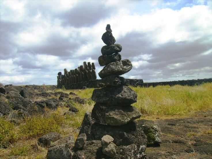 The guards pascuense ... and a pile of stones.  Isla de Pascua
