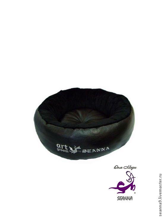 """Купить Лежанка для собаки или кошки """"Круглая"""" с игрушкой в подарок - чёрный, лежанка для собаки"""