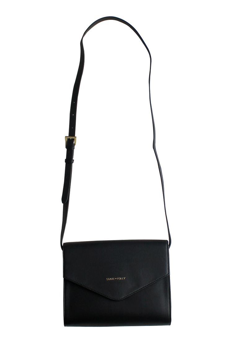Triangle Black Leather Clutch Purse
