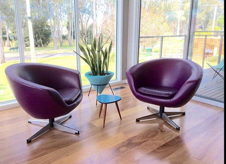 Tub chairs by Gerald Easden in original purple vinyl.
