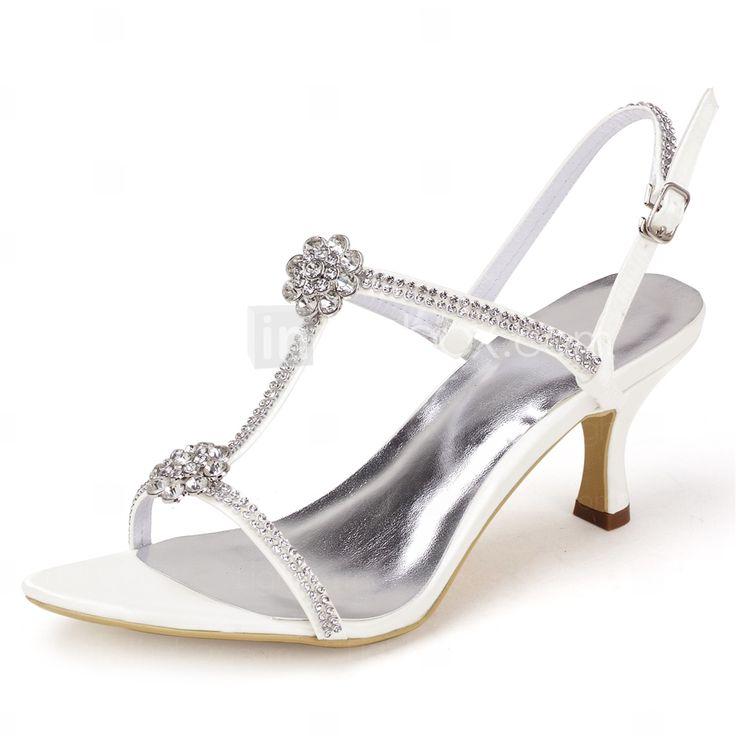 Zapatos de tacón de kitten de puntera abierta de satén de marfil elegantes para boda I4XqG