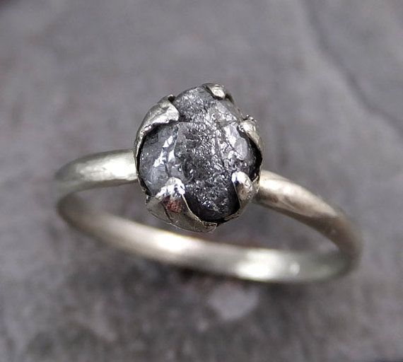 Raw Rough UnCut Diamond Engagement Ring Rough Diamond Solitaire 14k white gold Conflict Free Diamond Wedding Promise byAngeline