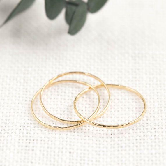 14k 18k gold trinity ring dainty rings three by EnveroJewelry