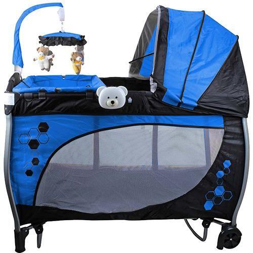 Berço Balanço com Trocador e Mobile Baby Style Azul DE R$ 699,00 - (desconto de 28%) POR R$ 498,99 em até 10x de R$ 49,89 sem juros
