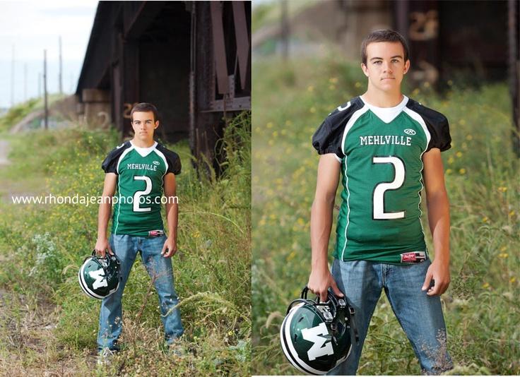 High School Senior Boy in Mehlville Senior Football Jersey
