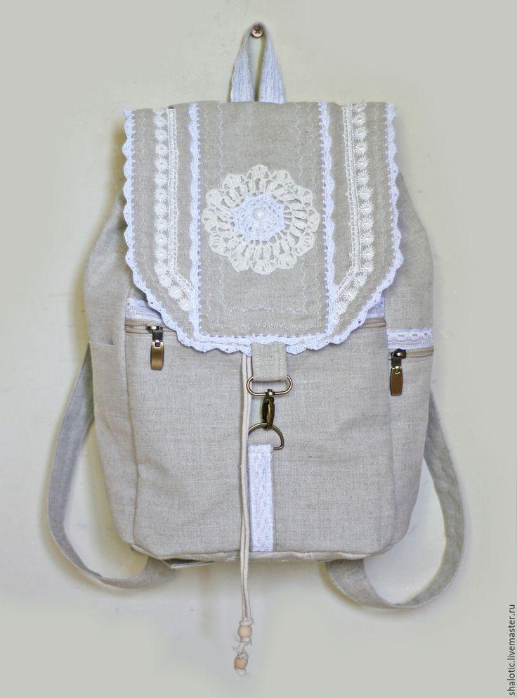 """Купить Льняной рюкзак """"Холстинка"""" - рюкзак, рюкзачок, летний рюкзак, лен, сумка-рюкзак"""