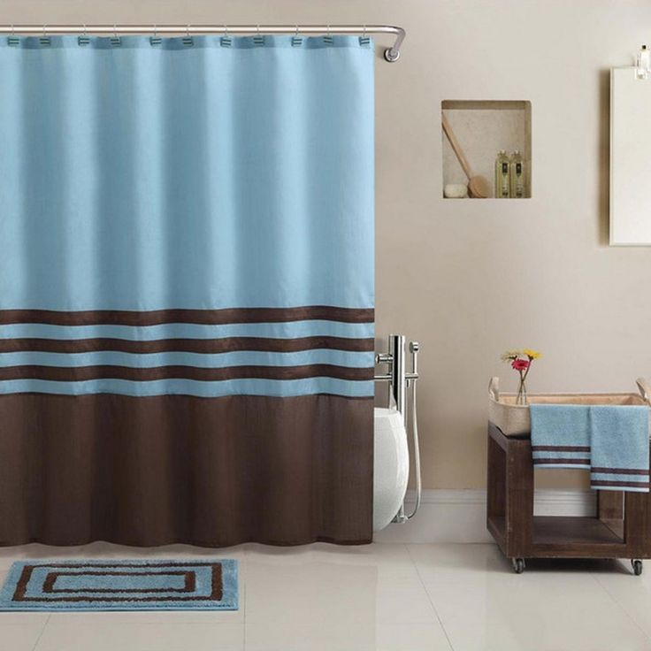 Bathroom, Blue And Brown Bath Rugs Also Curtains Ideas For Luxury Bathroom Design: How to Choose the Beautiful Luxury Bath Rugs
