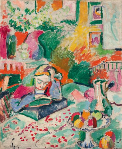 """Henri Matisse (French, 1869-1954), Interior with a Young Girl (Girl Reading), Paris 1905-06, Oil on canvas. 28-5/8 x 23-1/2"""", The Museum of Modern Art, Fractional gift of Mr. and Mrs. David Rockefeller, © 2009 Succession H. Matisse, Paris / Artists Rights Society (ARS), New York."""