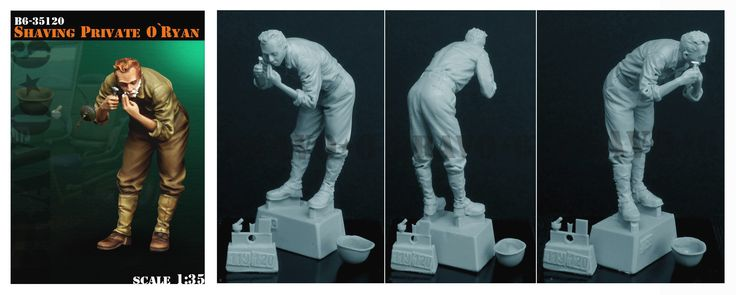 Shaving Private O'Ryan. A single resin figure in 1/35 scale. Now available. Click on the pic for more details and FREE Worldwide shipping on all orders of $90 or more