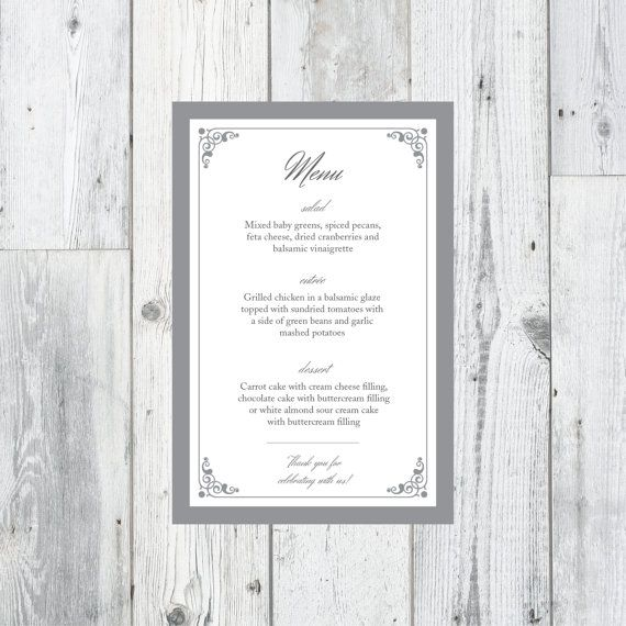 Printable Wedding Menu Card, DIY Wedding Menu || Perpetually Daydreaming Designs