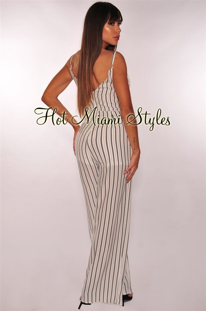 5582351a858 White Striped Wrap Belted Palazzo Jumpsuit in 2019