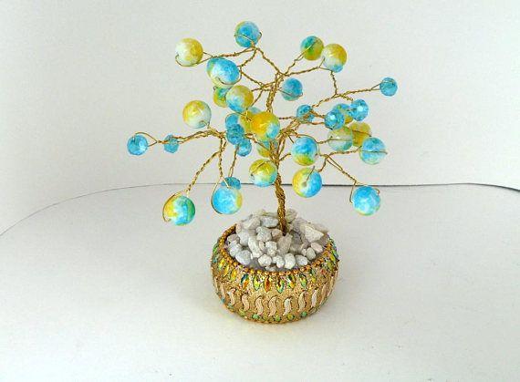 Wire Wrapped Blue Yellow Beaded Bonsai Tree Wedding Favor #weddingfavor #wedding #favors #party #bonsai #tree