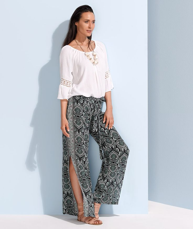 WIDE LEG PANT STYLE #00109255 $49.95,  PEASANT TOP STYLE #00109288 $49.95