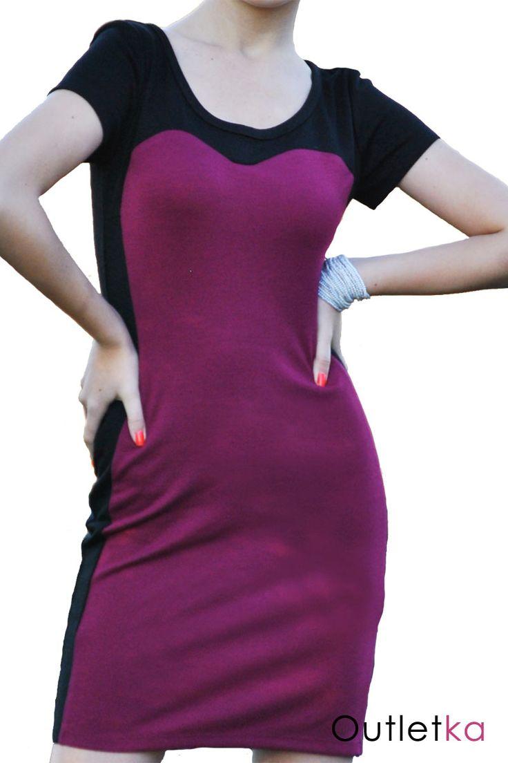 Nowa sukienka firmy Evie, w odcieniu bordowym (karminowym), oraz kolorze czarnym. Na krótki rękaw. Sukienka z tyłu zasuwana na zamek. Materiał rozciągliwy, świetnie dopasowuje się do sylwetki.