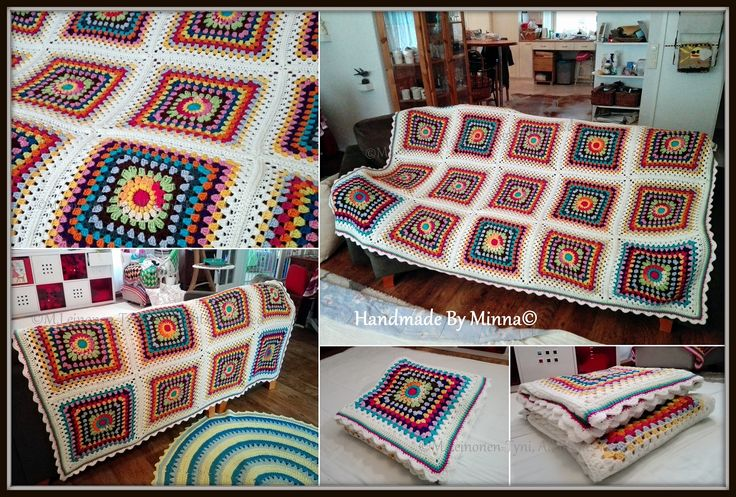 Huge Sunburst Granny square Blanket, made by me <3