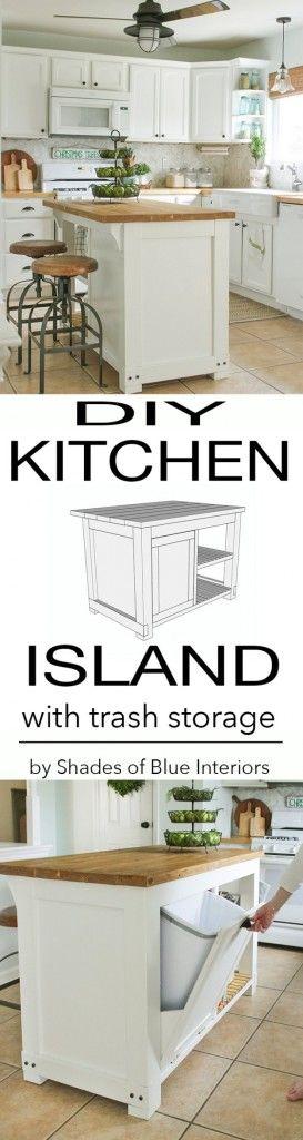 DIY Kitchen Decor Ideas - DIY Kitchen Island With Trash Storage - Creative Furniture Projects, Accessories, Countertop Ideas, Wall Art, Storage, Utensils, Towels and Rustic Furnishings http://diyjoy.com/diy-kitchen-decor-ideas