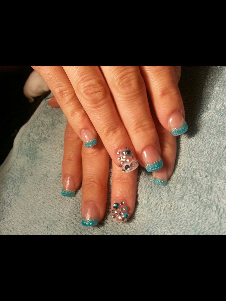 Client requested blue Nails (one of my very first sets) beginner nails