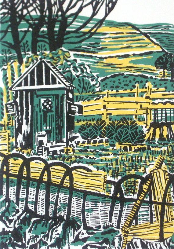 Wonky Fence Walk Original Linocut Relief Print by Zebedeeprint
