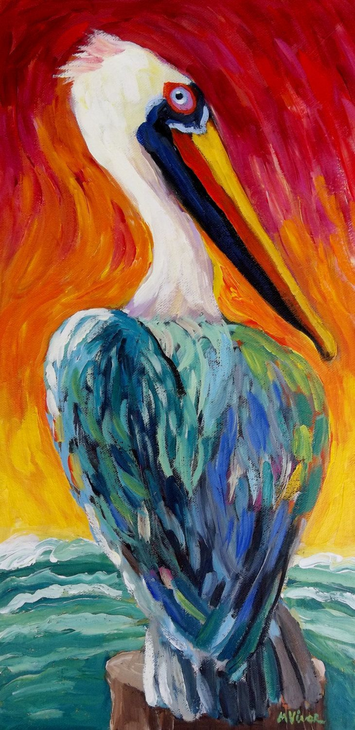 Abstract Impressionist New Orleans Sunset Pelican Bird Original Painting by MonaVivarFineArt on Etsy