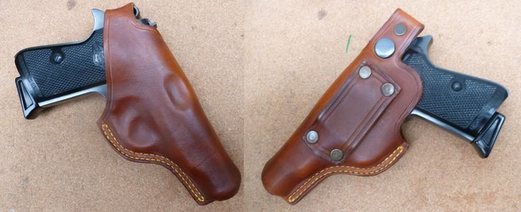 Custom leather back thumb break holster for Walther PP & PPK - available with single or double row stitched seam - handmade by makeitjones.co.uk