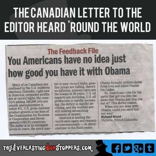 AMEN, AMEN, AMEN!!!! 'You Americans Have No Idea' - Another Open Letter, This Time From Canada & This One Hurts
