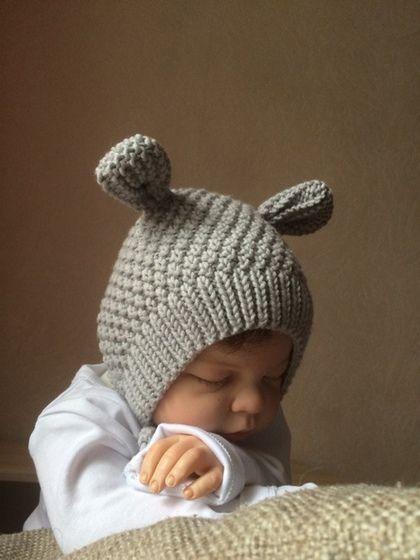 Вязаные шапочки с ушками для новорожденных