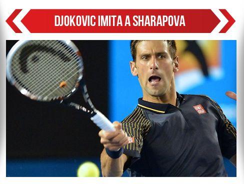 Novak Djokovic imita a Sharapova
