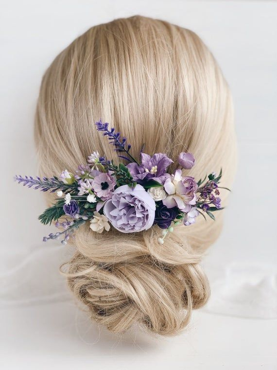 Flower Hair Comb Lavender Hair Comb Wedding Hair Piece Purple Hair Comb Wedding Hair Piece In 2020 Flower Hair Pin Bridal Flower Hair Pins Flower Hair Pieces