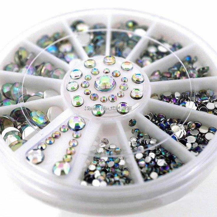 SP0001-28 Mix Größen Perle Nail art Sticker Tipps Dekoration Rad Glitter Nagel Strass Dekoration Werkzeuge 6 CM