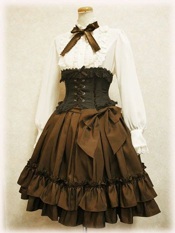 the younger girl I don't care for the long sleeves. Slightly Steampunked Classic Lolita. I love the rich browns in this outfit.