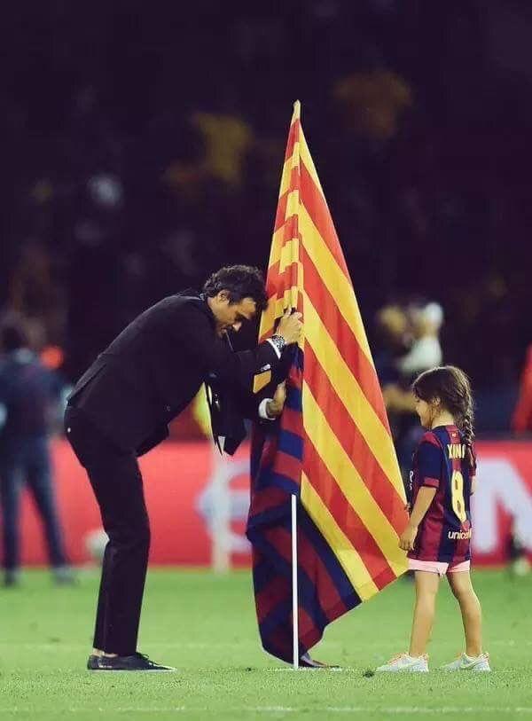 Luis Enrique plante le drapeau Catalan sur la pelouse après la victoire du Barca en finale de la Ligue des Champions