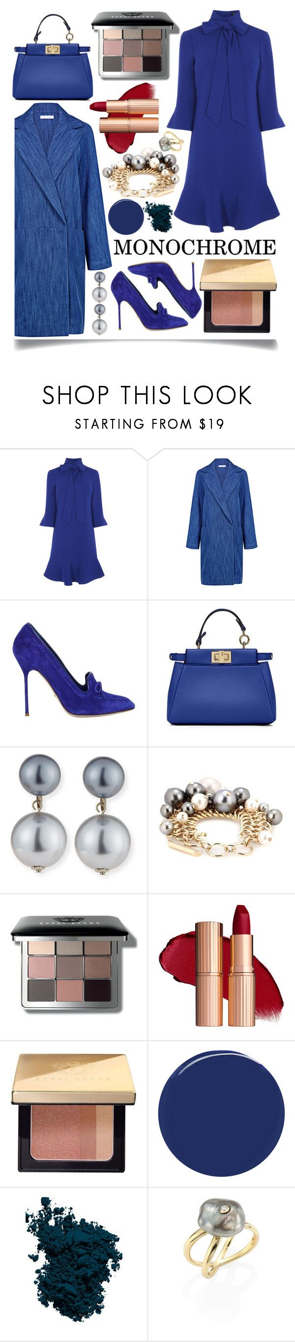 """Monochrome Blue"" by ittie-kittie ❤ liked on Polyvore featuring Atea Oceanie, Sergio Rossi, Fendi, Kenneth Jay Lane, Bobbi Brown Cosmetics, RGB Cosmetics, Laura Mercier and mizuki"