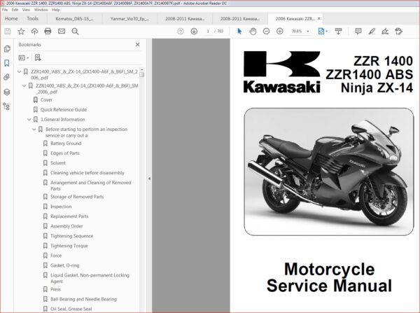 2006 Kawasaki Zzr1400 Zzr1400 Abs Ninja Zx 14 Motorcycle Workshop Repair Service Manual Motorcycle Workshop Kawasaki Abs