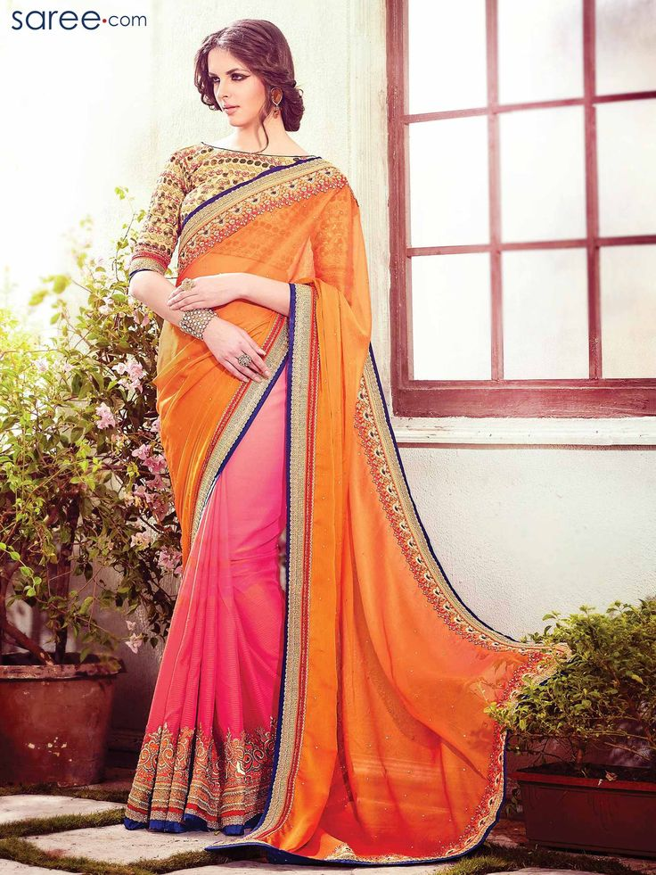 ORANGE AND PINK CHIFFON SAREE WITH EMBROIDERY WORK