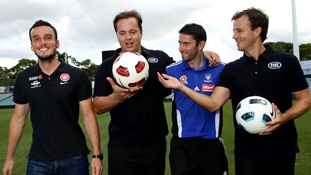 Check out what Sydney FC Captain Terry McFlynn had to say to his mate Western Sydney Wanderers FC striker Mark Bridge ahead of their upcoming Hyundai A-League derby game and find out how theyre getting involved with matevmate.com.au  Picture: Stephen Cooper Source: The Daily Telegraph