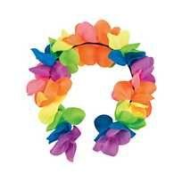 Premium Neon Rainbow Large Petal Polyester Flower Leis – 12 Pc