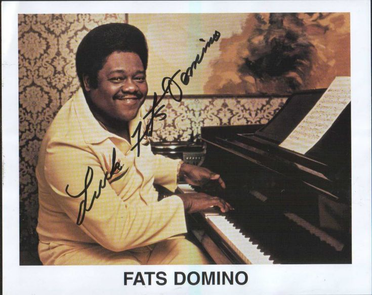 "Fats Domino released a series of hit songs with producer and co-writer Dave Bartholomew, saxophonists Herbert Hardesty and Alvin ""Red"" Tyler and drummers Earl Palmer and Smokey Johnson. Description from prince.org. I searched for this on bing.com/images"